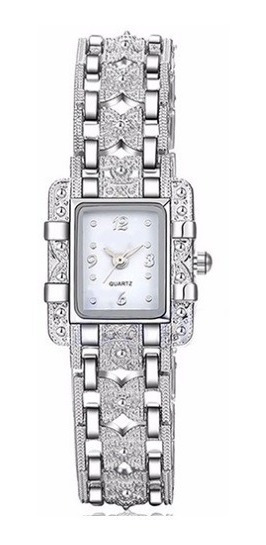 Relógio Pulseira Feminino Lindo Elegante Pequeno Cor Prata