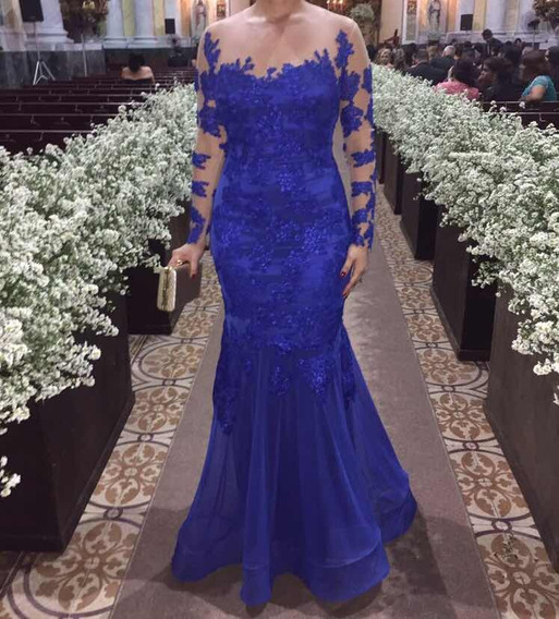 Vestido De Tule Bordado Azul Royal