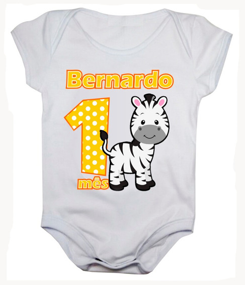 Kit Body Mesversario Safari 12 Bodies Com Nome Do Bebê Bori