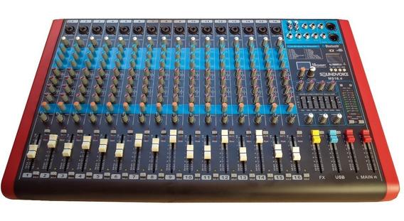 Mesa De Som 16 Canais 4 Aux Efx Rec Usb Bt Ms16.4 Soundvoice