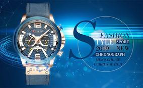 Relógio Curren Luxo Pulseira De Couro À Prova D