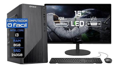 Imagem 1 de 5 de Computador Fácil Completo Intel I3 8gb Ssd 240gb Monitor 15