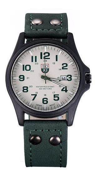Reloj Casual Acero Cuarzo Marca Soki Color Blanco Con Verde