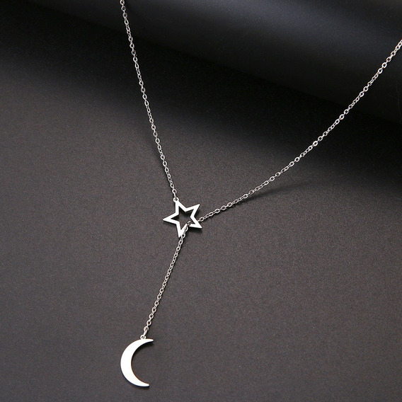 Colar Aço Inoxidável Estilo Gravata Estrela E Lua Çl 97