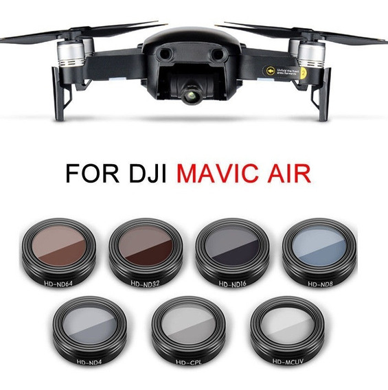Kit C/ 7 Lentes Filtro Dji Mavic Air Cpl+mcuv+nd4+8+16+32+64