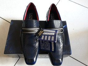Sapato Social Calvest Original A Couro Legítimo Azulado N 40