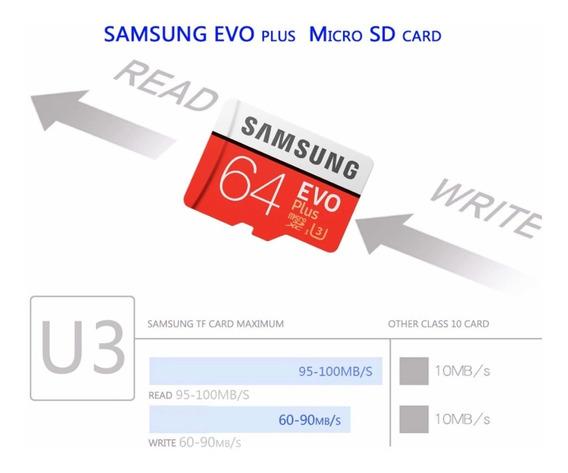 Cartão Samsung 4k, Unico Lacrado Do Ml , U3, 64gb Vel 100mbs