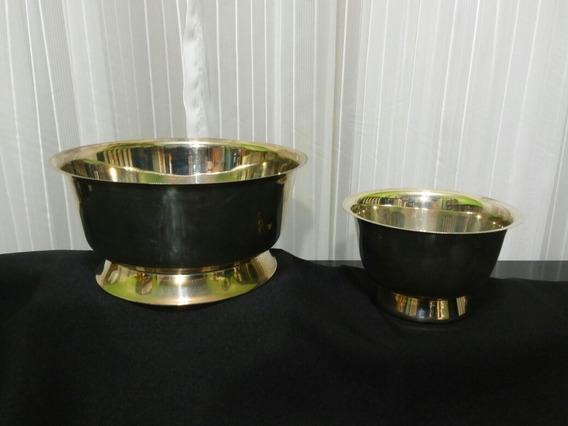 Ensaladeras En Metal Plateado Con Base (set X 2 Unidades)