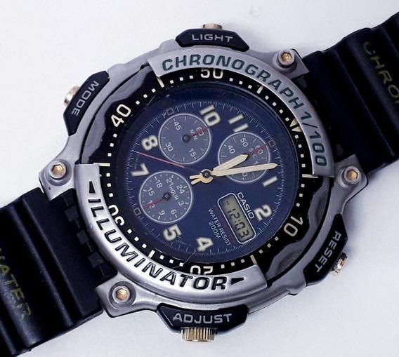 Casio Mda-100 Raro Chronograph 1/100 Gmt Alarme Date Anos 80