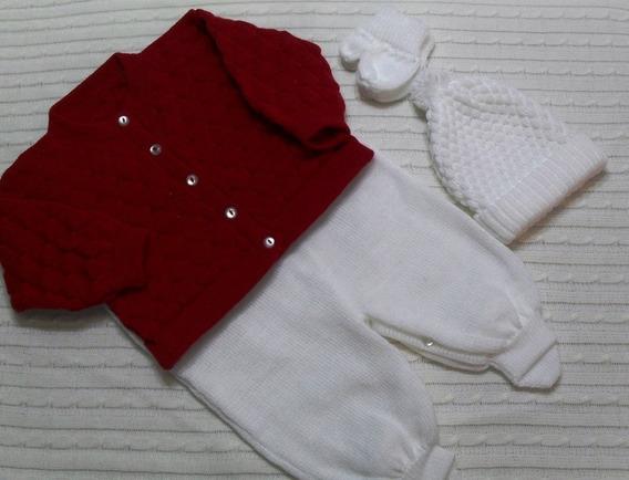 Bebê Casaco Salopete Pé Gorro Luva Saída Maternidade Ref.168