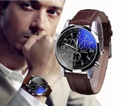 Relógio Masculino Luxo Com Pulseira De Couro Com Caixa