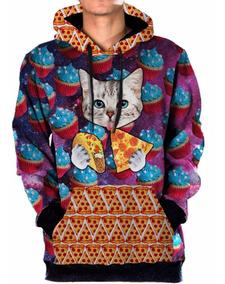 Blusa Moletom Canguru Gato Pizza Taco Tumblr Swag Galaxia 5