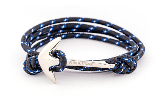 Pulsera Náutica Con Ancla Vstone Starry Silver Anchor