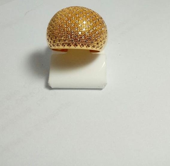 Anel Banhado A Ouro 18k Com Micro Zirconia (aro( 19 )