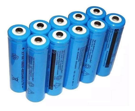 Kit 10 Baterias 18650 5200mah 4.2v Para Lanterna Tática Led