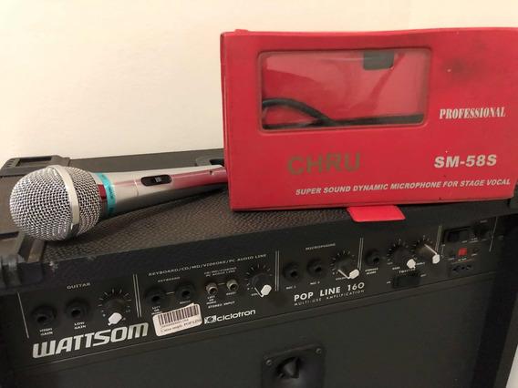 Caixa Wattsom Pop Line 160 + Microfone Sm 58 E Pedestal