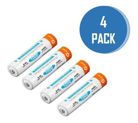 Bateria Pila Recargable Triple A Aaa 1000mah Calidad 4 Unids