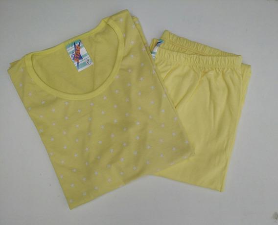 Pijama Femenino Em Meia Malha Manga Longa P E M