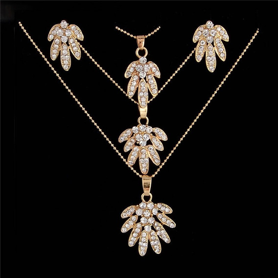 Colar Brinco Feminino Dourado Cristais Austríacos Flores 583