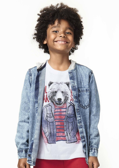 Camisa Infantil Menino Jeans Com Capuz Puc - 324u2pj