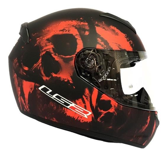Casco Cerrado Ls2 Rookie Skull Rojo #ls2oficial
