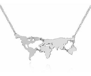 Juesj Mundo De La Moda Collar De Mapa Personalizado Globo Ti