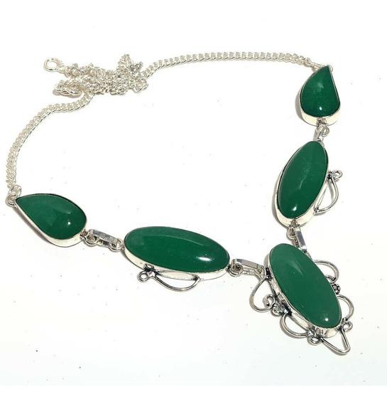 Colar Pedra Ônix Verde De Prata Esterlina 925 45 Centímetros
