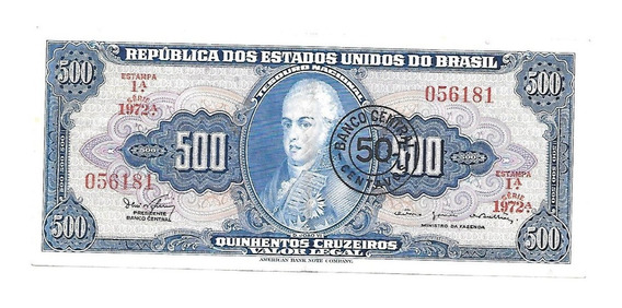 Liquido Billete De Brasil 500 Cruzeiros 1964 Resellado