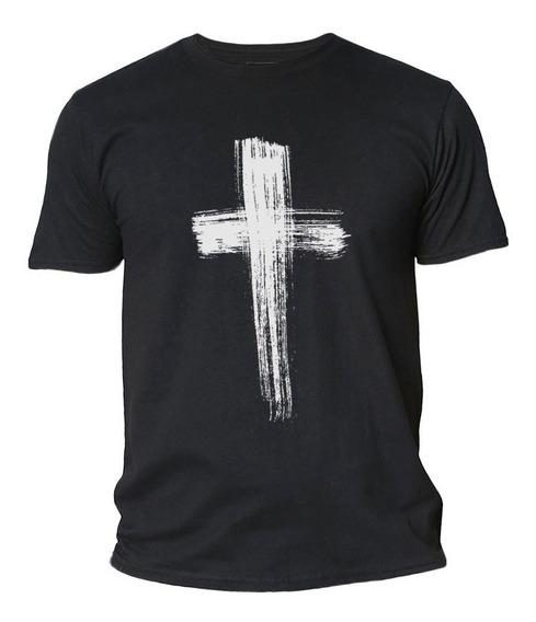 Camisas - Camiseta Cristã - Cruz De Jesus Cristo Pincel - Moda Evangélica - Roupas - Original - Promoção - Masculina -19