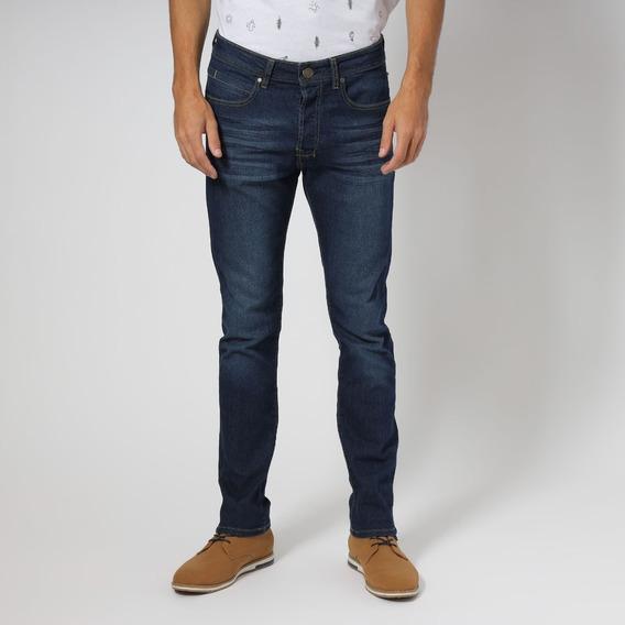 Pantalón Mezclilla Con Líneas Deslavadas Azul Hombre