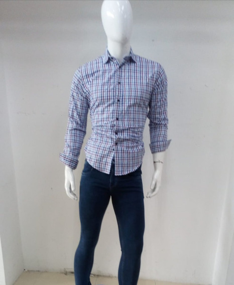 Bonita Camisa Slim Fit A Cuadros Azul/morado Manga Larga