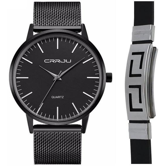 Relógio Masculino Ultra Fino Metal E Aço Inox Kit Pulseira