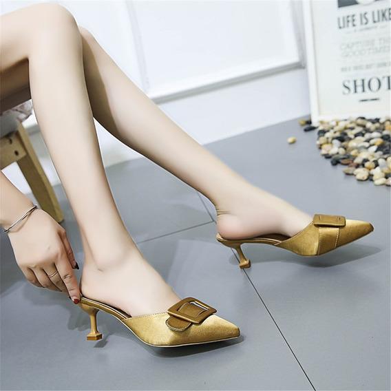 Mola Outono Moda Mules Sapatos Para As Mulheres Calcanhar Fi