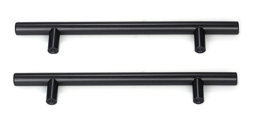 Puxador Móveis Haste Redonda Inox Preto 384mm - 12mm - Kit