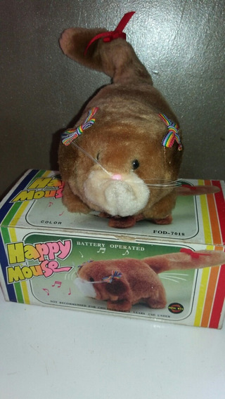 Happy Mouse Brinquedo Antigo Pelucia Toca Musica