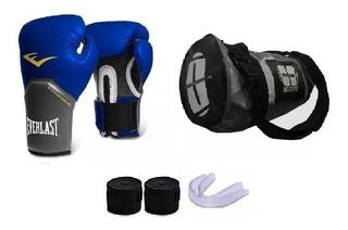 Kit Boxe Muay Thai Luva Azul Everlast + Acessórios + Bolsa