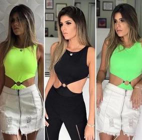 Body Neon Feminino Argola Bojo Moda Verão 2019