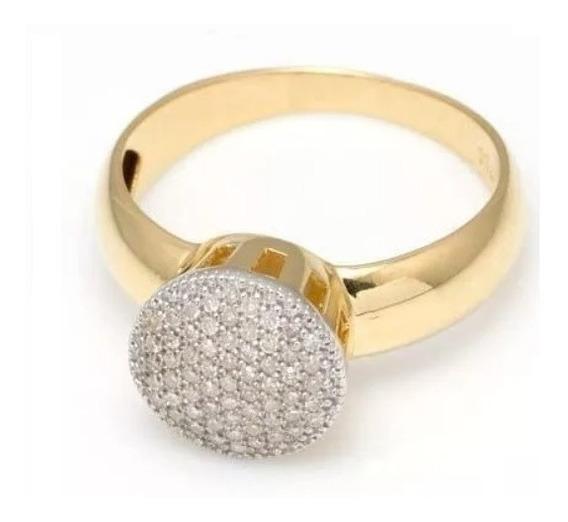 Anel Redondo G Com 61 Diamantes De Ouro 18 Quilate