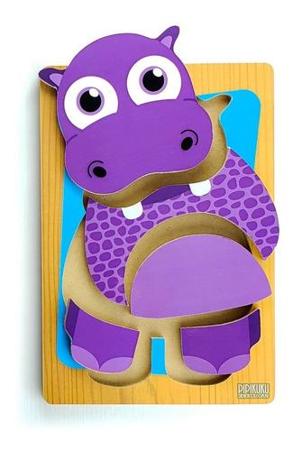 Rompecabezas Hipopótamo 5 Piezas Juegos Didácticos Pipikuku
