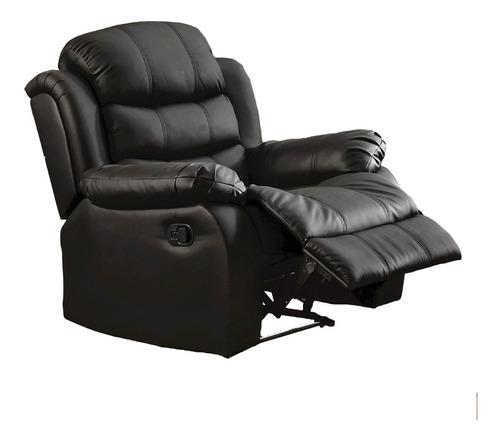 Sillon Recliner 1 Cuerpo Sofa Reclinable Tapizado Negro