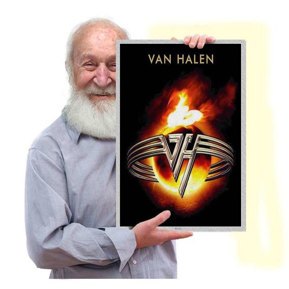 Quadro Placa Eddie Van Halen Rock Glam Metal Tam. A3 01