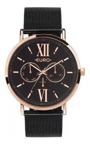 Relógio Euro Feminino Eu6p29ahg/5p Preto Rose Analogico