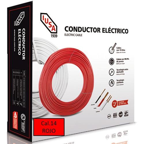 Caja 100 Mts Cable Iusa Rojo Thw Cal 14 Awg 100%cobre