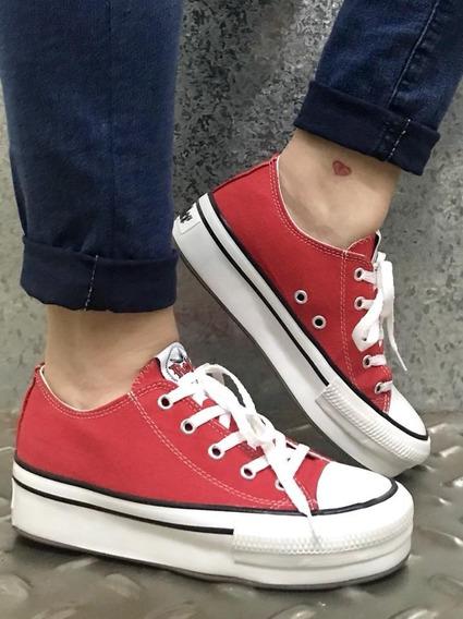 zapatillas tipo converse rojas