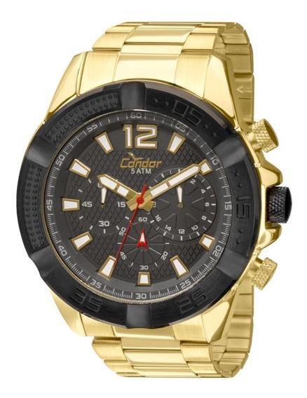 Relógio Condor Masculino Cronógrafo Dourado Preto Covd54ah/4c