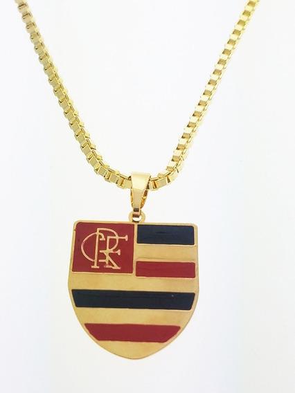 Corrente Colar Cordão + Pingente Clube Flamengo Folheado A Ouro 18k. C3p745