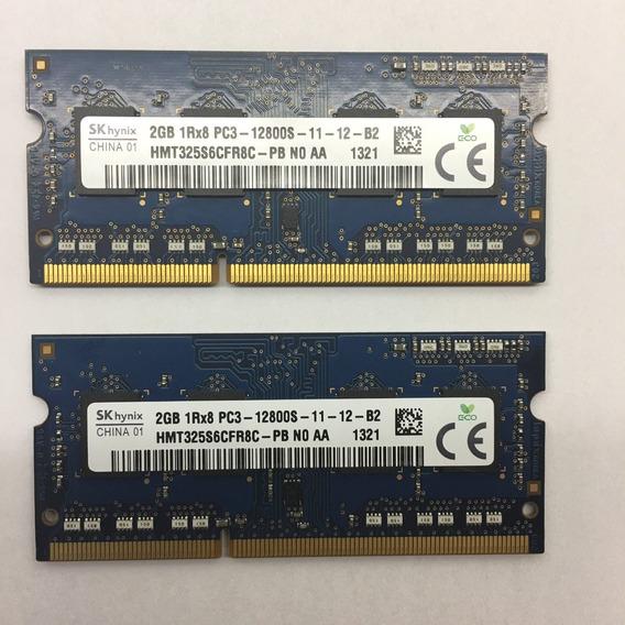 2x Memoria Notebook 2gb Ddr3 Pc3-12800s 1rx8 Frete Ref.072