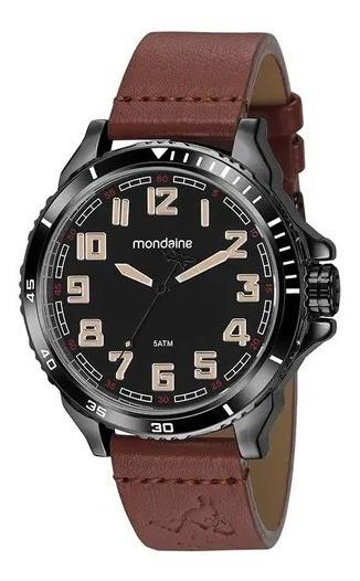 Relógio Mondaine Masculino Visor Preto Marrom 99424gpmvph1