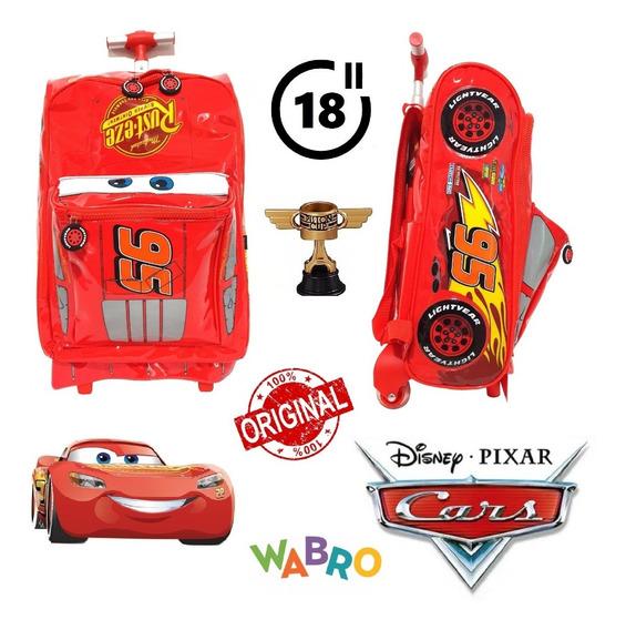 Mochila Cars 18 Pulgadas Con Carro 100% Original Wabro