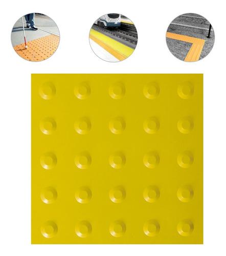 Imagem 1 de 10 de Piso Tátil Alerta Pvc 25x25 Amarelo 24 Pçs 6m Linear